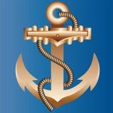 Det massiva guld- skeppankaret som fl?tas med ett tjockt hempen rep p? en ljus bl? bakgrund av f?rg av havsvatten stock illustrationer