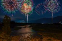 Det Matsumoto fyrverkerit är en stor sommarfestival i Ja Fotografering för Bildbyråer