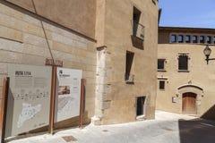Det medeltida huset kan Barraquer i Sant Boi de Llobregat, Catalonia, arkivbild