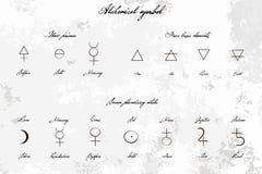 Det medeltida magiska Alchemical vetenskapstecknet ställde in, hand-dragen färgpulverstil Början grundläggande beståndsdelar, pla Arkivfoton