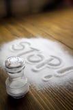 """Det medicinska begreppet stoppa för salt †"""" arkivfoto"""