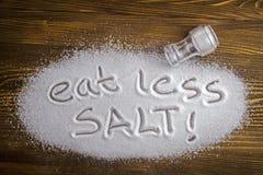 """Det medicinska begreppet äta för mindre salt †"""" Fotografering för Bildbyråer"""