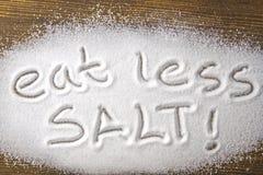 """Det medicinska begreppet äta för mindre salt †"""" Royaltyfri Fotografi"""
