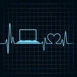 Det medicinska teknologibegreppet, hjärtslag gör en bärbar dator stock illustrationer