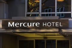 Det Mercure hotellet undertecknar in berlin Tyskland arkivfoto
