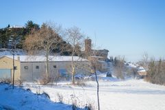 Det mest härlig av vintern i Luesia Spanien arkivfoto