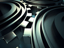 Det metalliska kugghjulet utrustar industriell bakgrund Arkivfoto