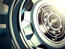 Det metalliska kugghjulet utrustar industriell bakgrund Fotografering för Bildbyråer