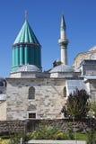 Det Mevlana museet med Green Dome och minaret Fotografering för Bildbyråer