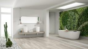 Det Minimalist vita badrummet med lodlinje och suckulenten arbeta i trädgården, wo arkivbild