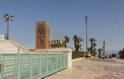 Det minnes- komplexet på platsen av fördärvar av moskén Hassan rabat morocco Arkivfoton