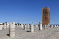 Det minnes- komplexet på platsen av fördärvar av moskén Hassan rabat morocco Arkivbild
