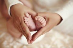 Det mjuka inre fotoet av gulligt behandla som ett barn fot i mammahänder Royaltyfria Bilder