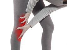 Det mänskliga knäet smärtar medicinskt hälsovårdbegrepp för gemensamt problem Arkivfoto