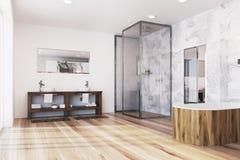 Det moderna badrumhörnet med ett trä badar Fotografering för Bildbyråer