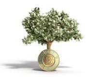 Det moderna begreppet av vinst från att investera i bitcoin 3d framför Arkivbild