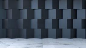 Det moderna begreppet för ruminredesignen, tomt rum, marmorgolvet och väggen för svart fyrkant, 3d framför Royaltyfria Bilder