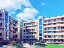 Det moderna europeiska bostads- byggnadskomplexet tonade royaltyfri bild