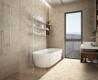 Det moderna kalkstenbadrummet, badkar och dusch, bordlägger med flaskor, stort panorama- fönster arkivfoton