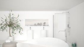 Det moderna klassiska badrumslutet upp på stort bad badar, stor dusch a Royaltyfri Bild