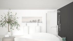 Det moderna klassiska badrumslutet upp på stort bad badar, stor dusch a Arkivbild