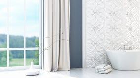 Det moderna ljusa badrummet 3D framför Royaltyfria Foton