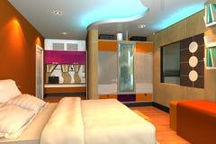det moderna sovrummet 3d framför Arkivbild