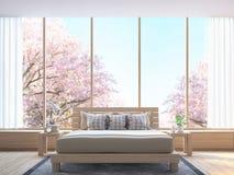 Det moderna sovrummet dekorerar rum med den wood bilden för tolkningen 3d Royaltyfria Bilder