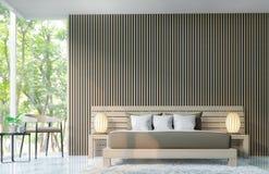Det moderna sovrummet dekorerar väggar med trätolkningbild för galler 3d Royaltyfria Foton