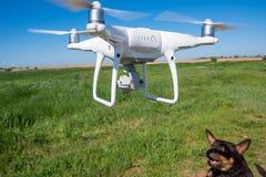 Det moderna surret, quadrocopter är i luften mot bakgrunden av himlen och gräset Arkivfoton