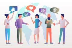 Det moderna unga stilfulla folket diskuterar det sociala nätverket vektor illustrationer