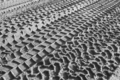 Det monokromma gummihjulet spårar tryck i sand Royaltyfria Foton