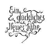 Det monokromma typografibanret som märker jahr för neues för ckliches för Ein glü, betyder lyckligt nytt år i tyskt språk royaltyfri illustrationer