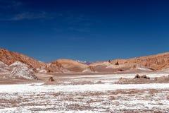 Det Moonlike landskapet av dyn, ojämn berg och geologiskt vaggar bildande av den Valle de laLuna Moon dalen i den Atacama öknen, royaltyfri foto
