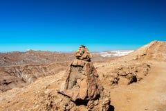 Det Moonlike landskapet av dyn, ojämn berg och geologiskt vaggar bildande av den Valle de laLuna Moon dalen i den Atacama öknen, arkivbild