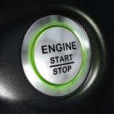 Det motorstarten och stoppet knäppas, bilstartknappen Arkivbilder