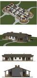 Huset modellerar, tolkningen 3D Royaltyfri Bild