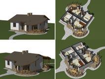 Huset modellerar, tolkningen 3D Arkivfoto