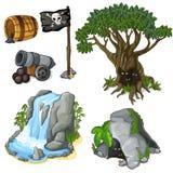 Det mystiska trädet, grottan, vattenfall och piratkopierar symboler stock illustrationer