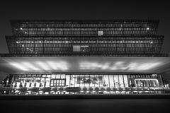 Det nationella museet av afrikansk amerikanhistoria och kultur på natten, i Washington, DC arkivfoton