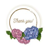 Det naturliga tappninghälsningkortet med inskriften av ord tackar dig med den blåa och rosa vanliga hortensian Stil för vattenfär stock illustrationer