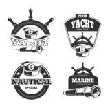 Det nautiska vektortecknet, märker och förser med märke royaltyfri illustrationer