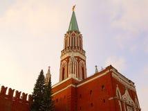 Det Nikolskaya tornet av Kreml moscow Arkivbild