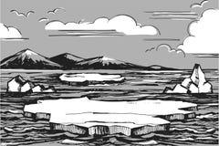 Det nordliga landskapet skissar royaltyfri illustrationer