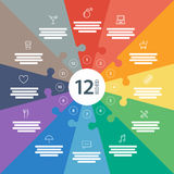 Det numrerade för lägenhetregnbågen för den fulla sidan spektret färgade pusselpresentation det infographic diagrammet med det fö Arkivbild