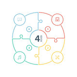 Det numrerade plana regnbågespektret färgade pusselpresentation det infographic diagrammet med symboler som isolerades på vit bak Royaltyfri Fotografi