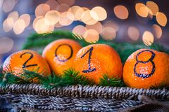 Det nya året 2018 är det kommande begreppet Arkivfoto