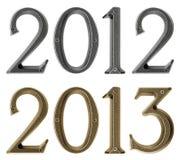 Det nya året 2013 är det kommande begreppet - belägga med metall numrerar 2012 och 2013 Arkivbilder