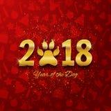Det nya året av hundferievykortet med tafsar fotspåret, guld royaltyfri illustrationer