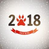 Det nya året av hundferievykortet med tafsar fotspåret, vektor stock illustrationer